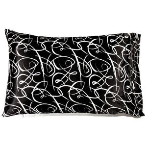 This A Touch of Satin pillowcase is made from a black with white swirly charmeuse satin print, sewn with French seams and is washable.