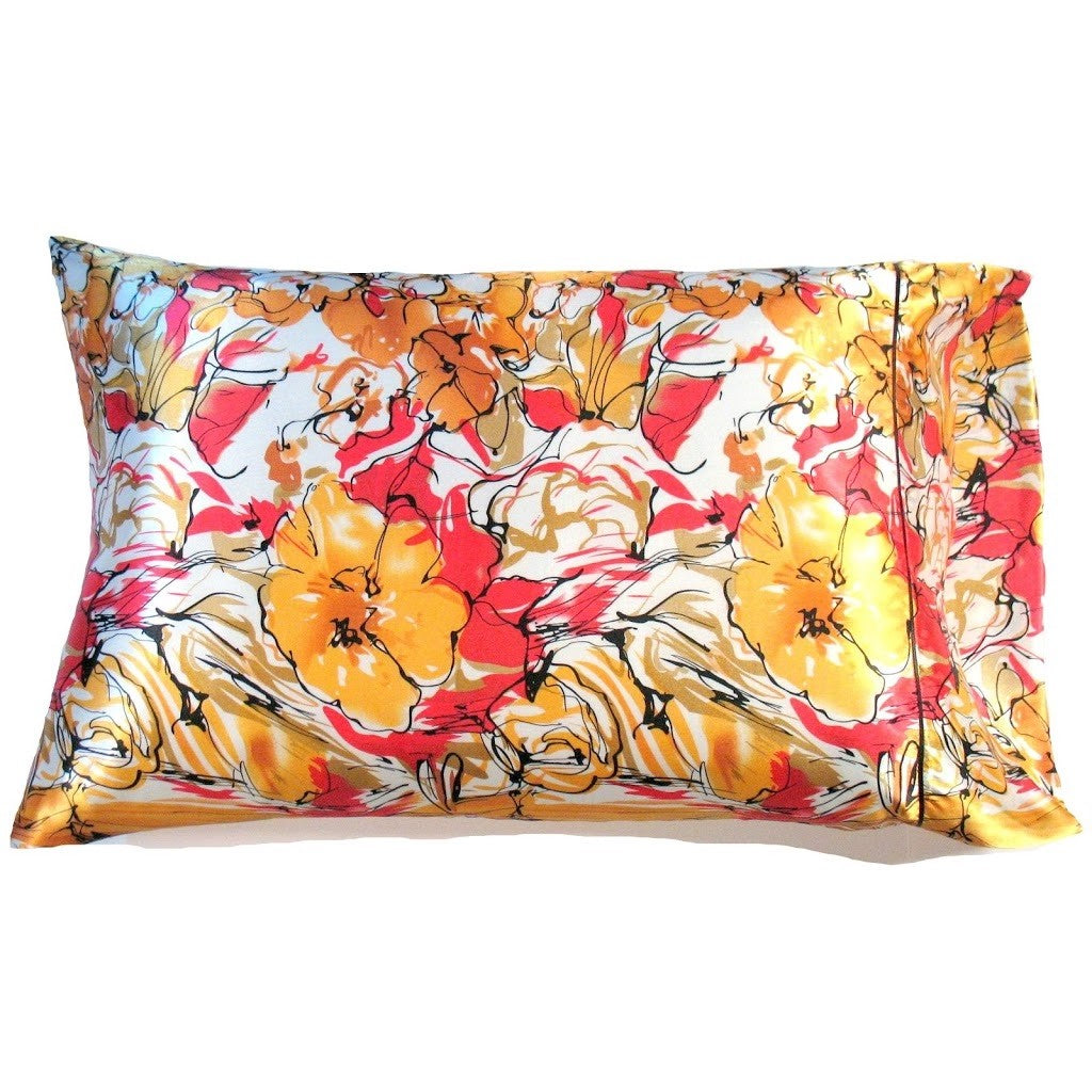 This A Touch of Satin pillowcase is made from a yellow, white and coral flowers charmeuse satin print, sewn with French seams and is washable and dryer safe.
