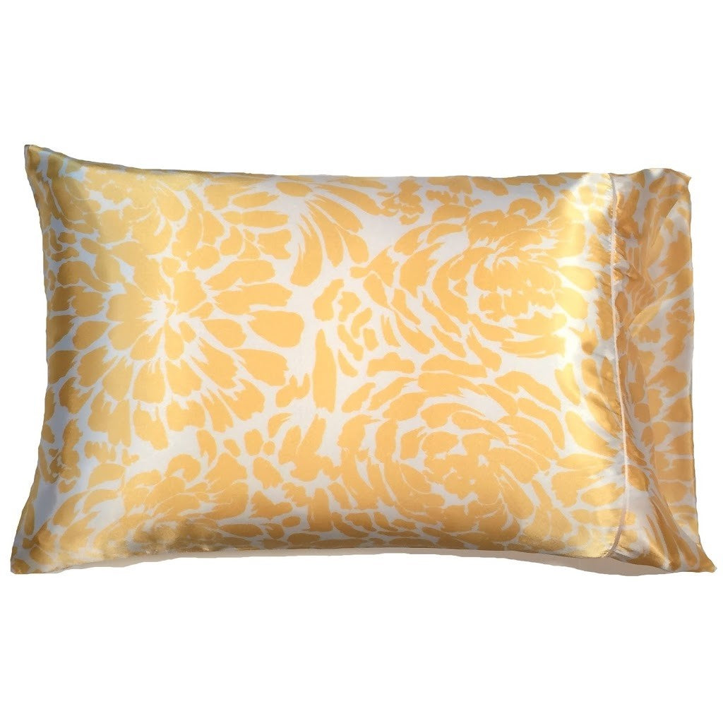 This A Touch of Satin pillowcase is made from a white with yellow leaves charmeuse satin print, sewn with French seams and is washable.