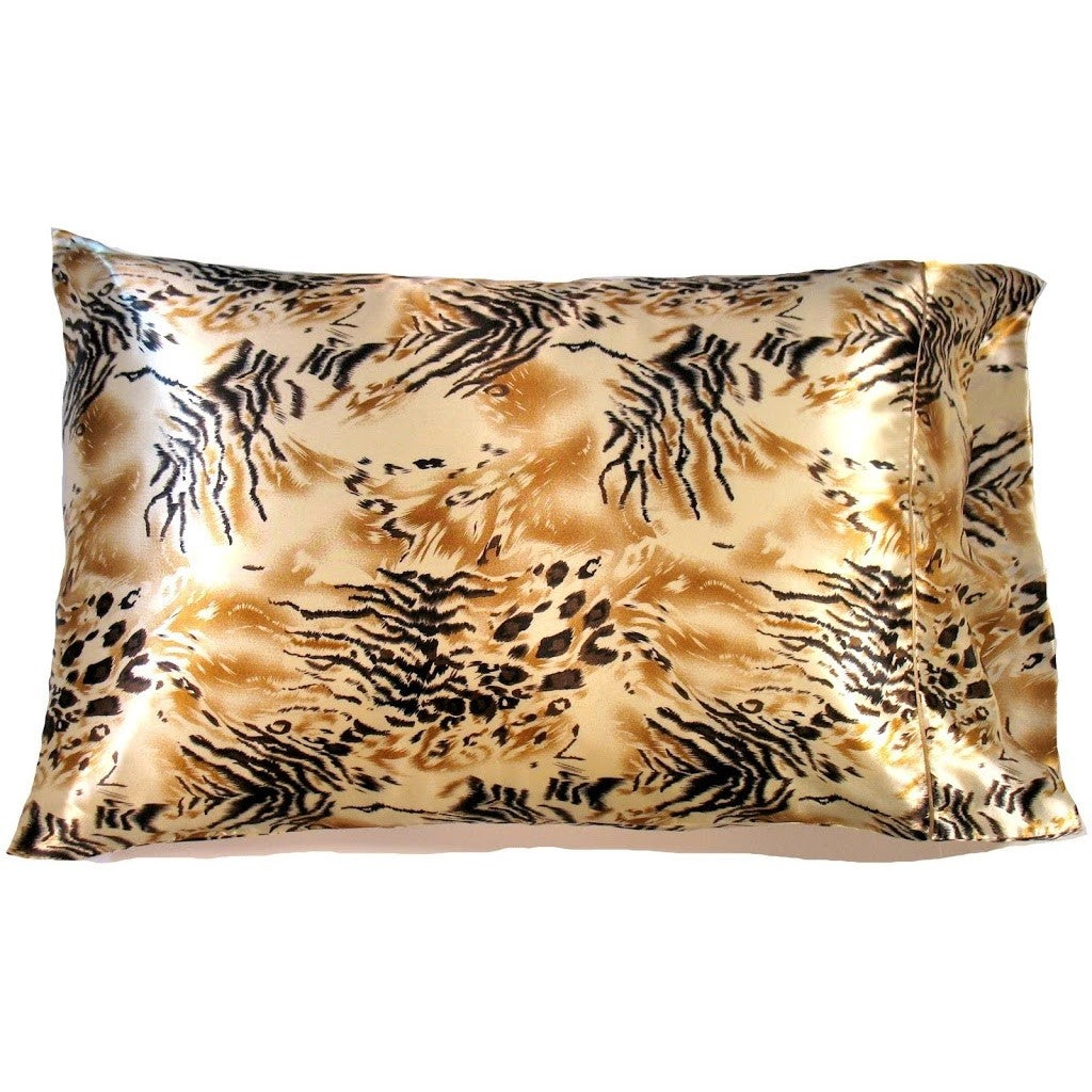 This A Touch of Satin pillowcase is made from a gold, black and tan charmeuse satin print, sewn with French seams and is washable and dryer safe.