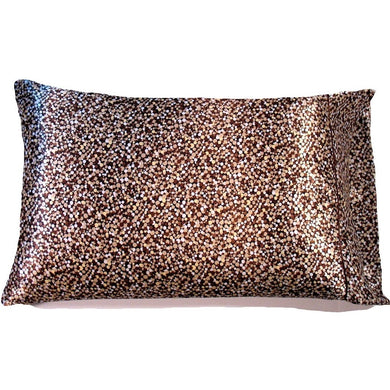 This A Touch of Satin pillowcase is made from a brown, gold and white polka dots charmeuse satin print, sewn with French seams.