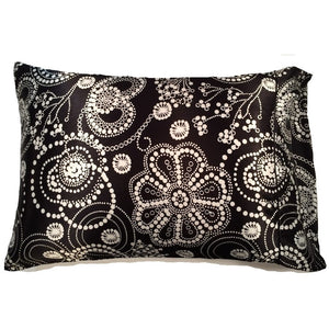 This A Touch of Satin pillowcase is made from a black with white pearls charmeuse satin print, sewn with French seams and is washable.