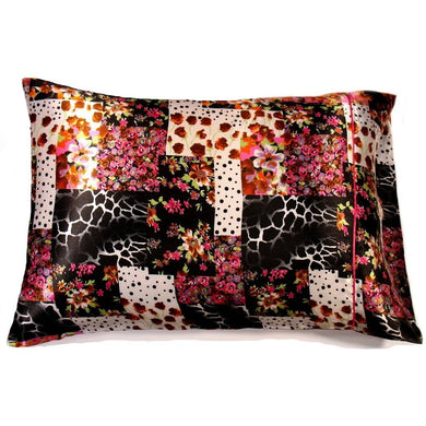 This A Touch of Satin pillowcase is made from a black and pink giraffe charmeuse satin print, sewn with French seams and is washable.