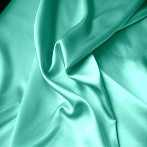 This A Touch of Satin pillowcase is made from sea foam green charmeuse satin with French seams, washable and dryer safe.