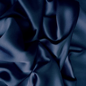 This A Touch of Satin pillowcase is made from navy blue charmeuse satin with French seams, washable and dryer safe.