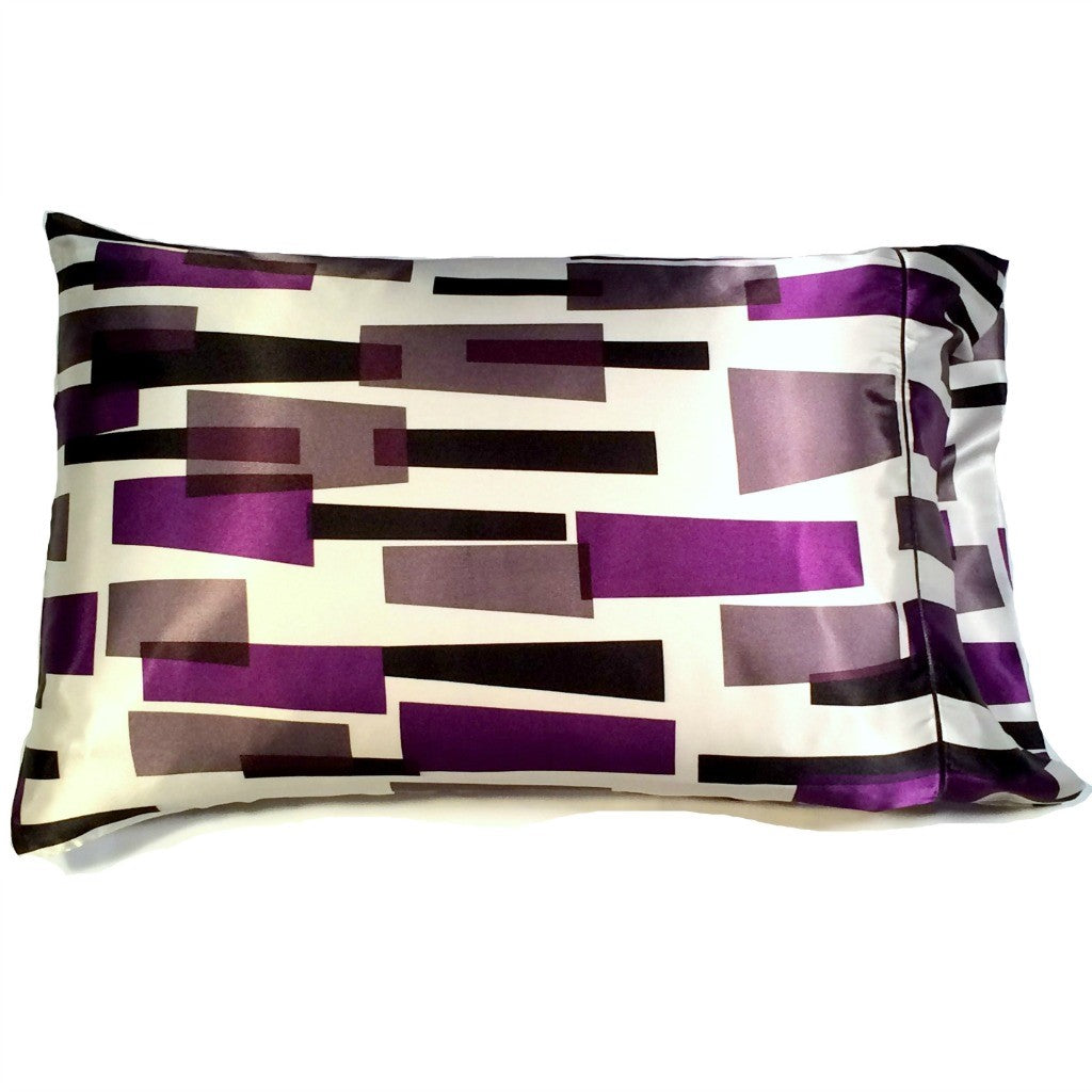 This A Touch of Satin pillowcase is made from a white with purple and black charmeuse satin modern design print, sewn with French seams.