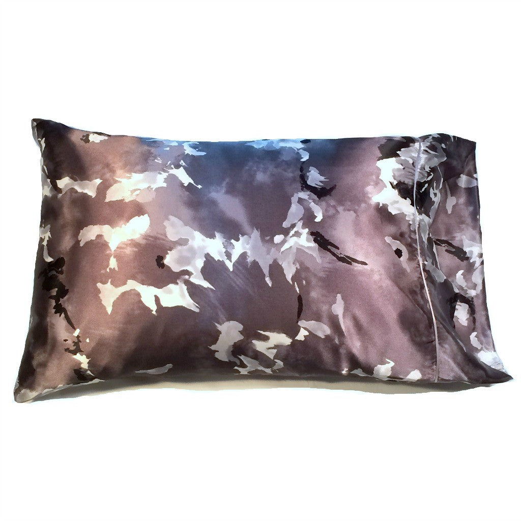 This A Touch of Satin pillowcase is made from a gray, white and black charmeuse satin print, sewn with French seams and is washable.