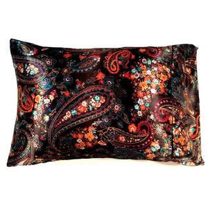 This A Touch of Satin pillowcase is made from a black and orange paisley charmeuse satin print, sewn with French seams and is washable.