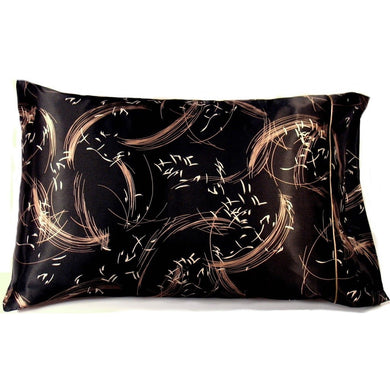 This A Touch of Satin pillowcase is made from a black with wispy beige charmeuse satin print, sewn with French seams and is washable.