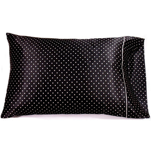 This A Touch of Satin pillowcase is made from a black with small white polka dots charmeuse satin print, sewn with French seams and is washable.