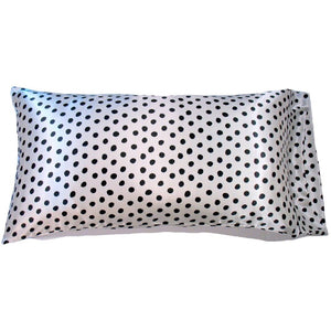 This A Touch of Satin pillowcase is made from a silky white with black polka dots charmeuse satin print, sewn with French seams and is washable.