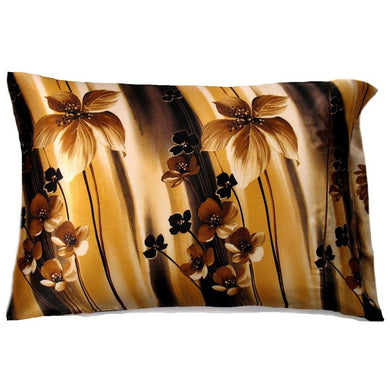 This bedroom accent pillow is made from a brown and gold flower charmeuse  satin print. The pillow feels
