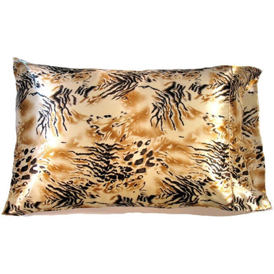 This bedroom/boudoir accent pillow is made from a gold and black satin print. The pillow feels