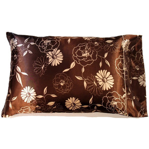 "This sofa, couch throw pillow is made from a brown with cream, beige satin print. The pillow feels ""down filled"" and is hypo-allergenic. The pillow and pillowcase are washable."