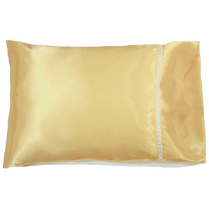 "This accent pillow is made from gold charmeuse satin. The pillow feels ""down filled"" and is hypo-allergenic. The pillow and pillowcase are washable."