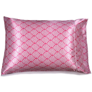 "This travel pillow is made from a pink and white  satin print. The pillow feels ""down filled"" and is hypo-allergenic. The pillow and pillowcase are washable."