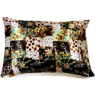 This travel pillow is made from a charmeuse satin print. The pillow feels