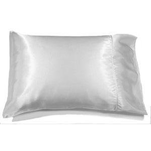 "This bedroom accent pillow is made from white charmeuse  satin. The pillow feels ""down filled"" and is hypo-allergenic. The pillow and pillowcase are washable."