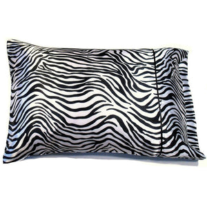 "This accent pillow is made from a white and black zebra satin print. The pillow feels ""down filled"" and is hypo-allergenic. The pillow and pillowcase are washable."
