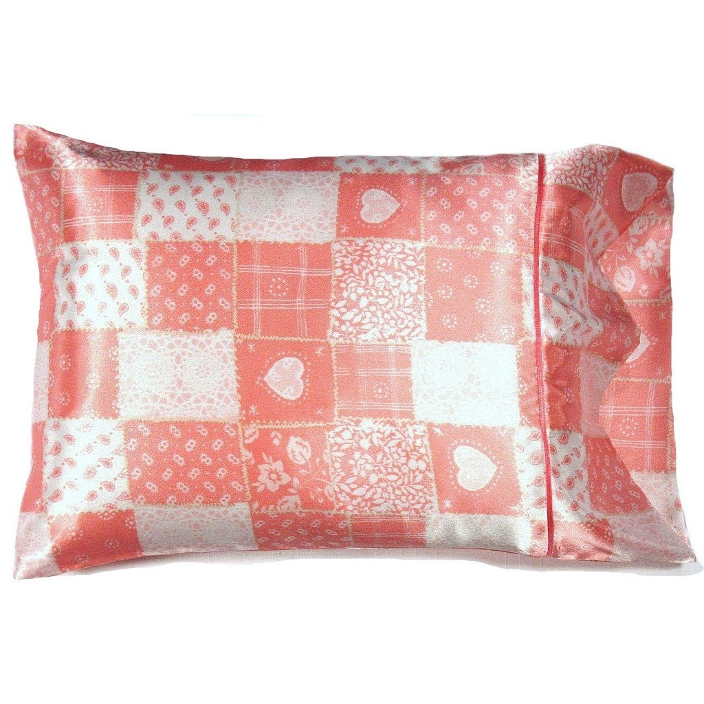 Pink and White Patchwork Satin Accent Pillow
