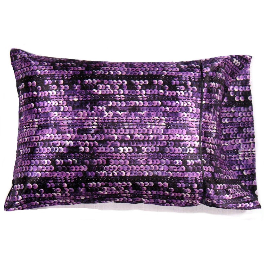 This sofa neck pillow is made from a purple and black sequins satin print. The pillow feels
