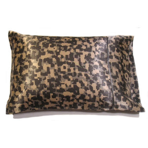 "This travel pillow is made from a camouflage satin print. The pillow feels ""down filled"" and is hypo-allergenic. The pillow and pillowcase are washable."