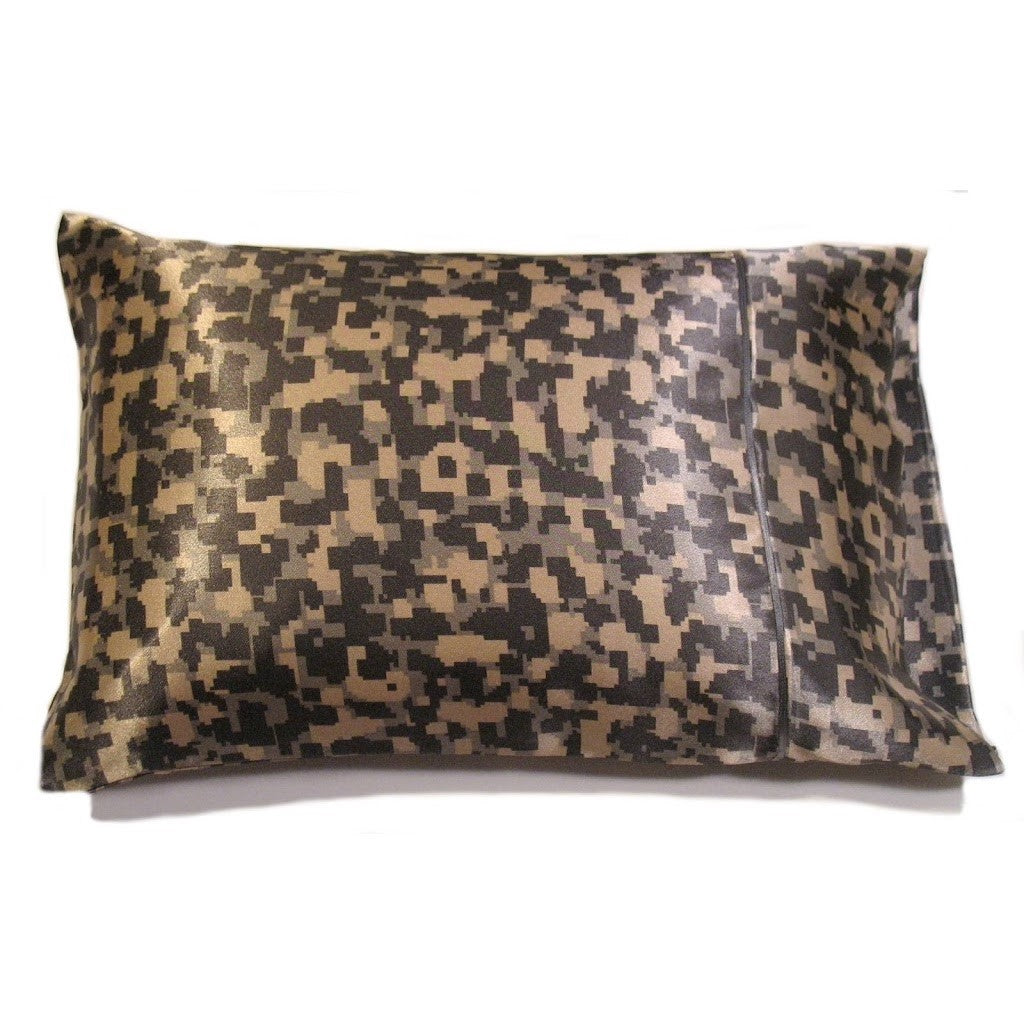 This travel pillow is made from a camouflage satin print. The pillow feels
