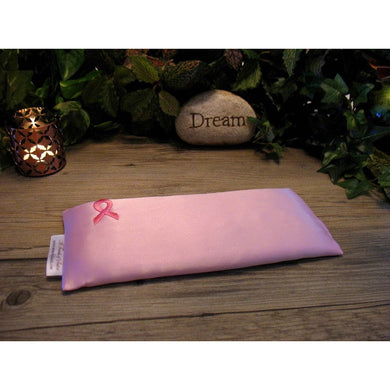 This eye pillow is made with pink breast cancer awareness satin, filled with organic flaxseed for unscented or choose organic lavender or peppermint for scented.
