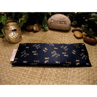 This chess lovers eye pillow is made with a navy blue with chees pieces satin print, filled with organic flaxseed for unscented or choose organic lavender or peppermint.