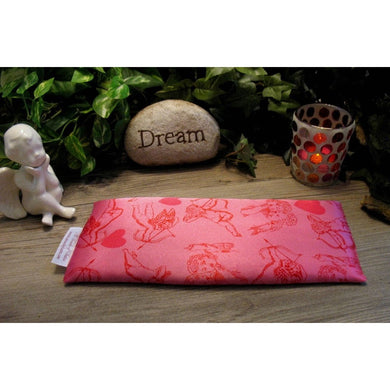 This yoga eye pillow is made with a pink and cupid's arrow satin print, filled with organic flaxseed for unscented or choose organic lavender or peppermint.