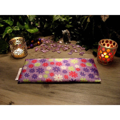 This stress eye pillow is made with a purple and red flowers satin print, filled with organic flaxseed for unscented or choose organic lavender or peppermint.