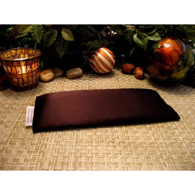 This unscented eye pillow is made with chocolate brown charmeuse satin and filled with organic flaxseed.