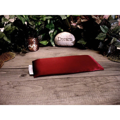 This eye pillow is made with maroon charmeuse satin, filled with organic flaxseed for unscented or choose organic lavender or peppermint for scented.