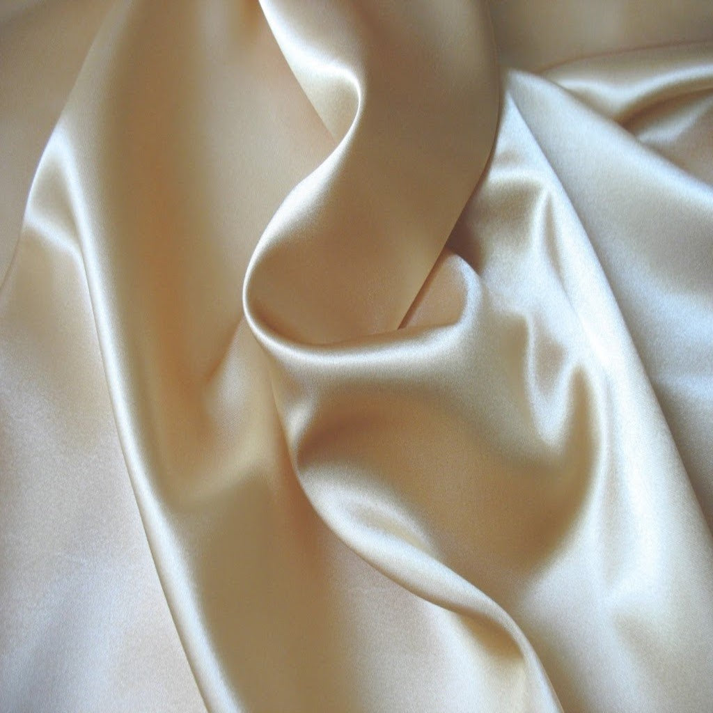 This A Touch of Satin pillowcase is made from champagne beige charmeuse satin with French seams, washable and dryer safe.