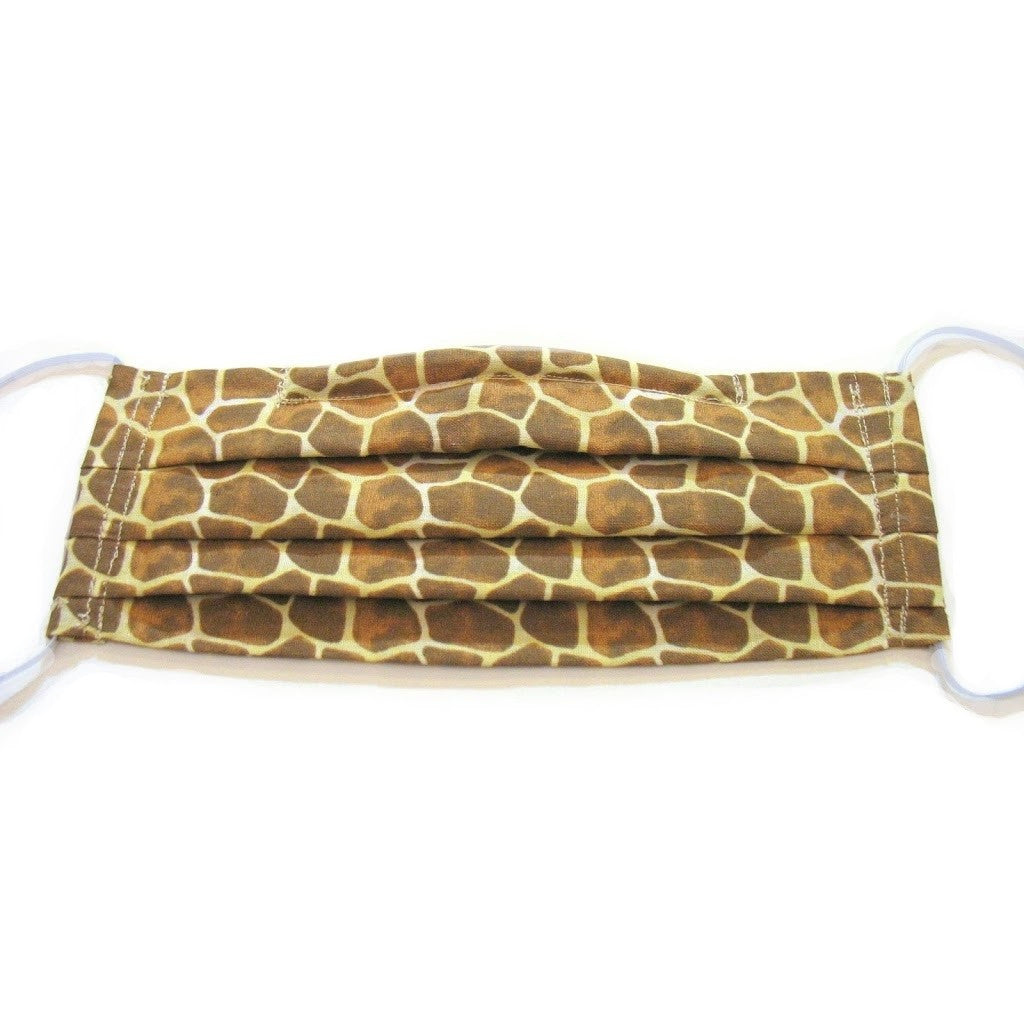 This giraffe cotton print face mask has a pocket in the back for a filter, a nose wire is sewn in for a secure fit and the mask is washable.