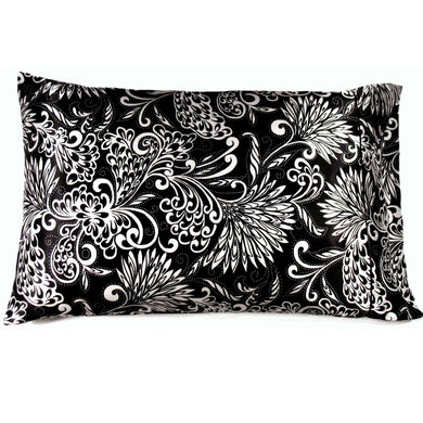 This couch throw pillow is made from a black and white satin print. The pillow feels