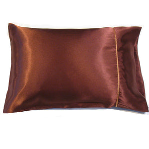 "This sofa or bedroom accent pillow is made from  brown charmeuse satin. The pillow feels ""down filled"" and is hypo-allergenic. The pillow and pillowcase are washable."