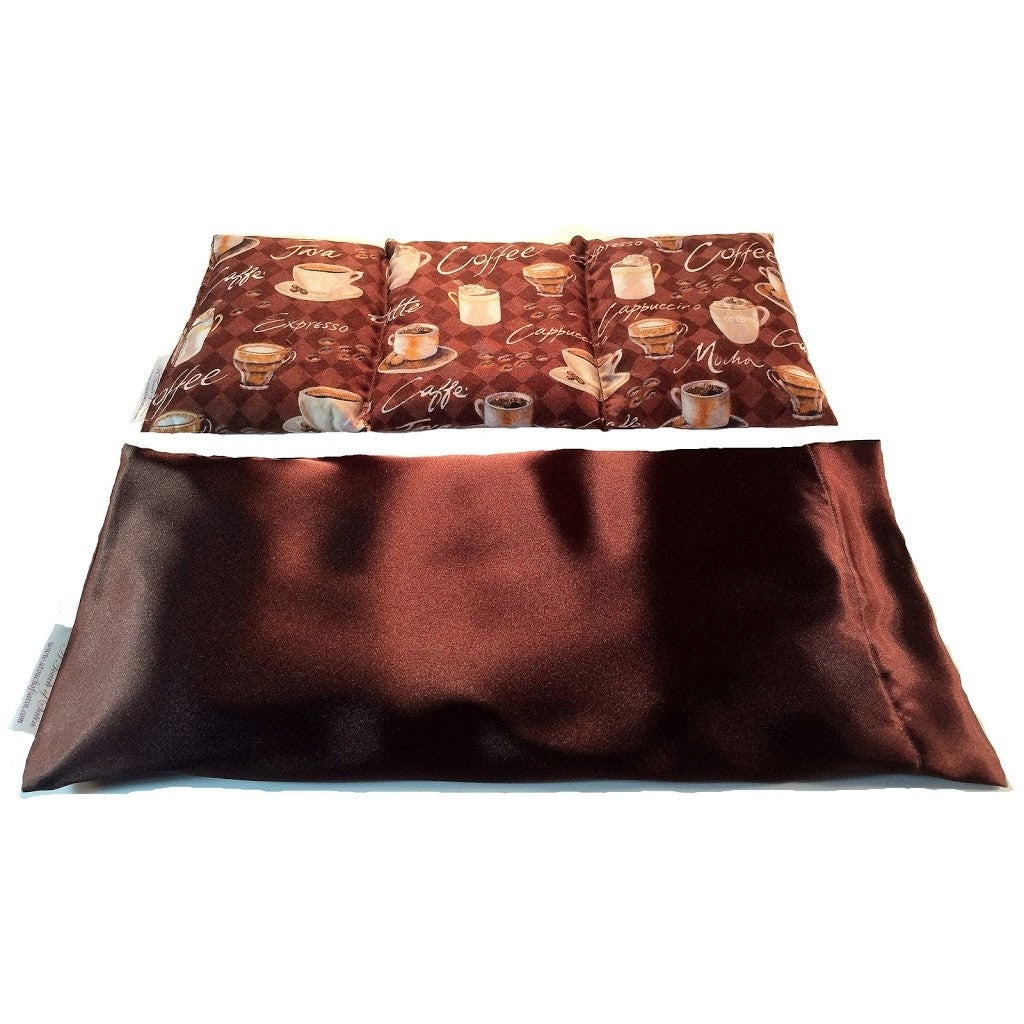 Heating pad. A washable brown satin cover with a coffee lovers print cotton insert. Three sections filled with organic flaxseed. Microwaveable.