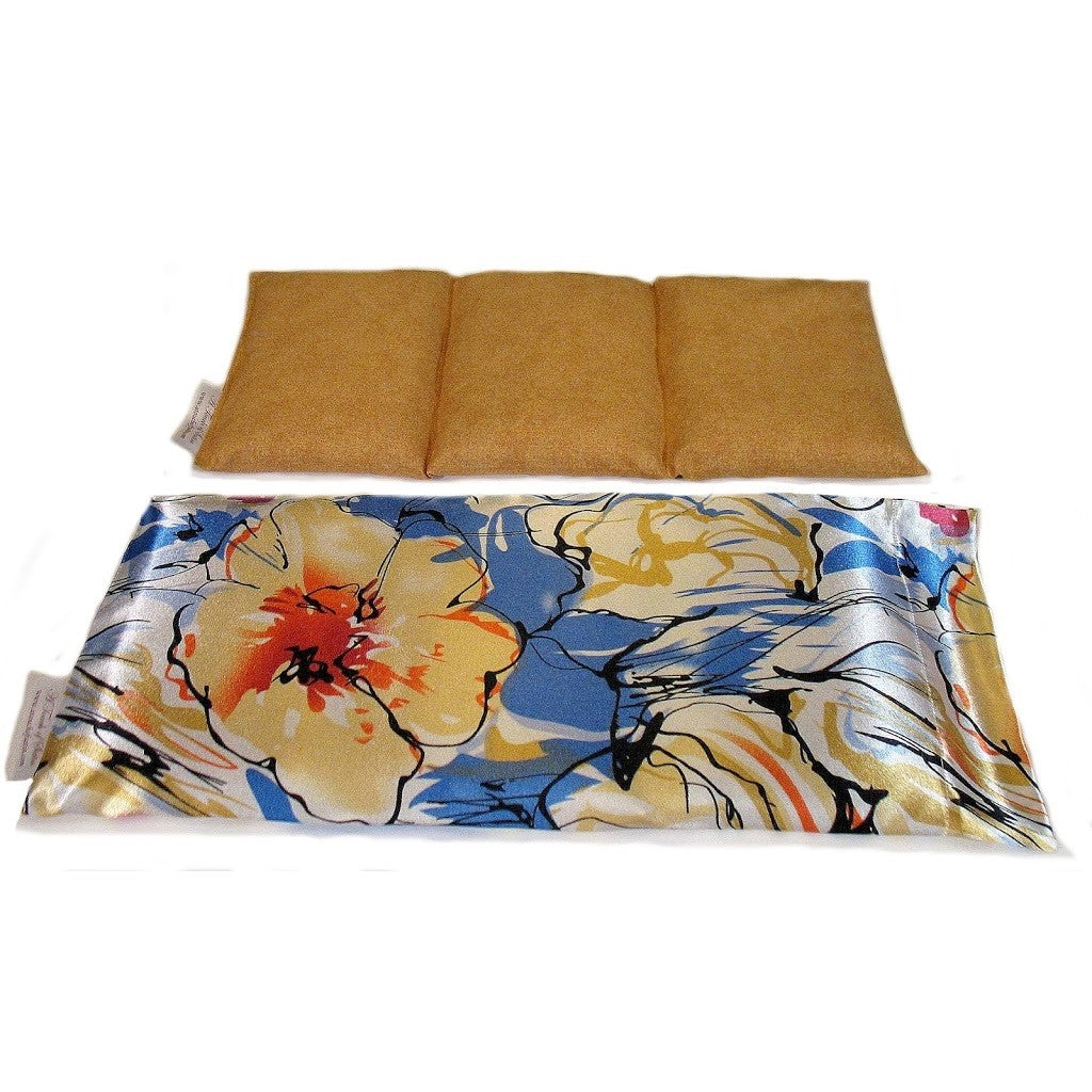 Hot/cold therapeutic wrap. A washable blue and beige flower print satin cover with a cotton insert. Three sections filled with organic flaxseed. Microwaveable.