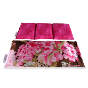 Heat therapy wrap. A washable pink flowers print satin cover with a cotton insert. Three sections filled with organic flaxseed. Microwaveable.
