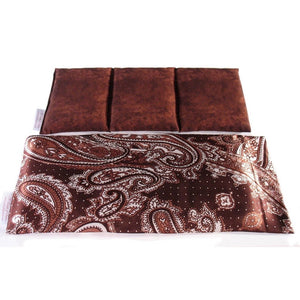 Cold or hot therapeutic wrap. A washable brown paisley print satin cover with a cotton insert. Three sections filled with organic flaxseed.