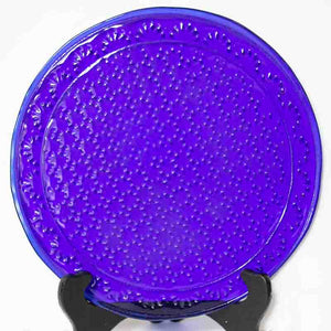 Plate - Dark blue color textured with dots
