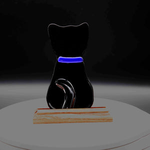 Animal - Black cat with blue collar profile