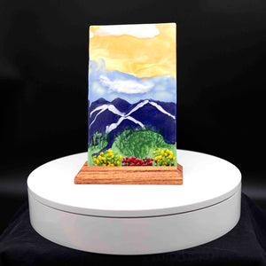 Decorative - Mountain painting with bushes and flowers
