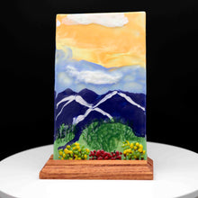 Load image into Gallery viewer, Decorative - Mountain painting with bushes and flowers