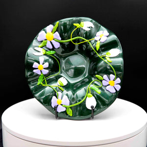 Bowl - Green with spring flowers