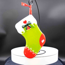 Load image into Gallery viewer, Holiday Stocking - Green with red toes, green bow and heart