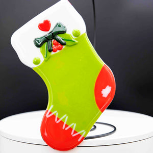 Holiday Stocking - Green with red toes, green bow and heart