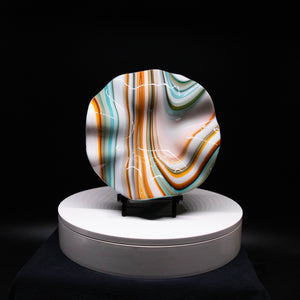 Plate - Orange cream and blue rippled edge round bowl