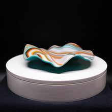 Load image into Gallery viewer, Plate - Orange cream and blue rippled edge round bowl